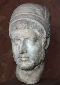 Flamen (Roman priest), head of Roman sculpture (marble), 3rd century AD, (Musée du Louvre, Paris).