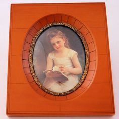 Vintage Butterscotch Bakelite Picture Frame Print of Young Girl from Antik Avenue on Ruby Lane SOLD