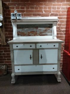 """Sideboard painted with FAT Paint, """"Jute"""" and """"Chalk White"""""""