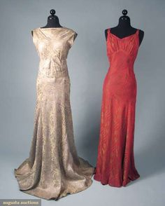 Two Silk and Lame Brocade Evening Gowns, circa 1935.
