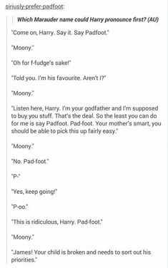 Which Marauder name could Harry say first as a baby?