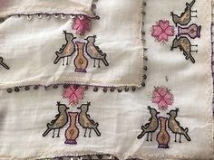Rare Antique Ottoman-Turkish Hand Embroidered Square Cevre Bird Motif