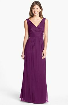 Amsale Sleeveless Silk Chiffon Gown | Nordstrom. this color in person might match craigs vest... ???