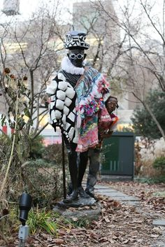 """Wendell is hands down the greatest homeless fashion designer who ever lived. He makes almost all his clothes from things he finds. I hadn't seen him in awhile, so I was quite thrilled to walk up on him Tuesday, doing this to a Gandhi statue."" ~ hony brandon, Humans of New York"