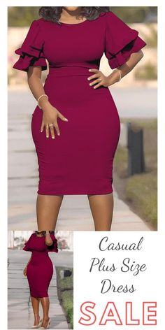 Beautiful casual o-neck with ruffles wine red knee length plus size dress - Big sale! Catch the trend with this fashion dress! Discover more fashion ideas at lovelywh - Short African Dresses, Latest African Fashion Dresses, Elegant Dresses Classy, Classy Dress, African Print Dress Designs, Office Dresses For Women, Clothes For Women, Classy Work Outfits, Dress Plus Size