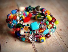 hippie wonderful colorful beaded memory wire by pixiestrinkets