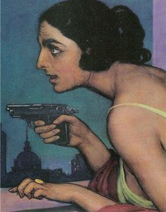 Mujer con pistola.