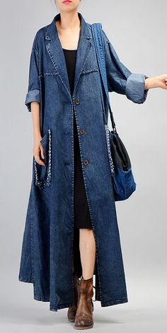Fashion denim blue coat for woman plus size long coat Notched patchwork pockets . - Fashion denim blue coat for woman plus size long coat Notched patchwork pockets coats - Long Denim Coat, Long Denim Dress, Oversized Mantel, Oversized Coat, Cardigan Fashion, Denim Fashion, Fashion Outfits, Denim Mantel, Denim Outfits