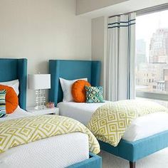 Bear Hill Interiors - girl's rooms - kids bedroom, shared bedroom, gender neutral bedroom, contemporary wingback bed, wingback headboard, te...