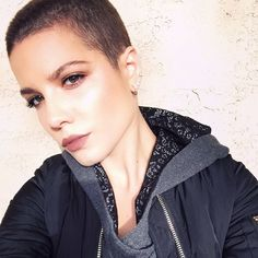 Exclusive: Halsey on Shaved Heads, Gray Lipstick, and Why She's Not a Cliché via @ByrdieBeauty