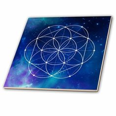 Sacred Circles Flower Geometry On A Brilliant Blue Galaxy Background - Ceramic Tile, Acrylic Painting Inspiration, Galaxy Background, Galaxy Art, Geometric Art, Sacred Geometry, Art Sketches, Circles, Tile, Walmart