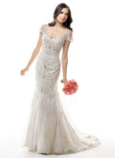 Wedding Dresses - $248.99 - Trumpet/Mermaid Sweetheart Court Train Satin Tulle Wedding Dress With Beading Sequins (0025056523)