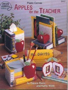 Plastic Canvas Apples for the Teacher (American School of Needlework #3147) by Dianne Davis, http://www.amazon.com/dp/0881956678/ref=cm_sw_r_pi_dp_TVe6rb1YMD23N