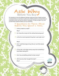 good set of questions about purchases... for kids, teens, and adults alike!