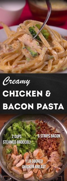 Creamy Chicken Bacon Pasta Recipe Amp up your chicken fettuccine with a little bacon and some broccoli for good measure Try this recipe out for the creamiest cheesiest. Bacon Pasta Recipes, Chicken Bacon Pasta, Aldi Recipes, Chicken Fettuccine, Creamy Chicken, Chicken Recipes, Cooking Recipes, Healthy Recipes, Broccoli Pasta
