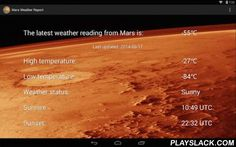 Mars Weather Report  Android App - playslack.com , Get the latest weather data right from the surface of Mars, straight to your phone or tablet! Notes-Includes support for Celsius, Fahrenheit, and Kelvin temperatures-The app updates to the latest available weather data once it has been compiled by NASA's Rover Environmental Monitoring Station (REMS) and made publicly available.-It is not guaranteed that weather data will be updated daily. In some cases it may take a few days for REMS to…