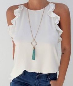 2019 Fashion New Women Sleeveless Loose Shirts Holiday Ladies Summer Casual Solid Blouse Tops Shirt Women Clothes, White / XXL Mode Top, Mode Inspiration, Casual Chic, Cute Casual Outfits, Casual Wear, Casual Looks, Ideias Fashion, Clothes For Women, Womens Fashion