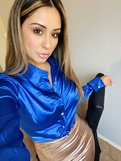 Women in Blouse❤ Pink Satin Blouse, Blue Satin, Satin Skirt, Satin Dresses, Silk Satin, Silk Dress, Corset Dresses, Silk Skirt, Sexy Outfits