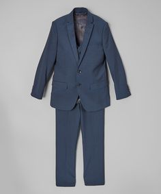 Look at this Isaac Mizrahi Navy Three-Piece Suit Set - Toddler & Boys on #zulily today!