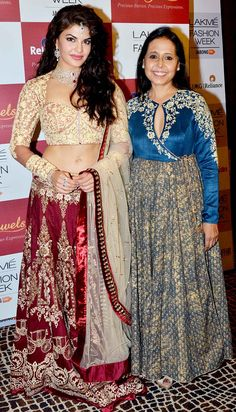 Jacqueline Fernandez and designer Anju Modi pose for a picture backstage at the Lakme Fashion Week Winter/Festive 2014 Day 2. #Bollywood #Fashion #Style #Beauty