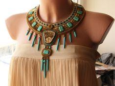 """Купить Египетское  оплечье """"Олуфеми - возлюбленная богов"""" - золотой, бронзовый, бирюзовый цвет, египетский стиль"""