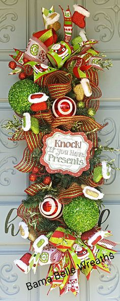 Fun Christmas swag Christmas Swags, Christmas Fun, Deco Mesh Wreaths, Centerpieces, Presents, Unique Jewelry, Holiday Decor, Handmade Gifts, Etsy