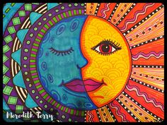 Details about US Seller-Mexican sun face art poster kitchen wall hangings - Posters Arte Sharpie, Art Soleil, Pinterest Arte, Classe D'art, Art Visage, Warm And Cool Colors, Warm Colours, 5th Grade Art, Grade 2