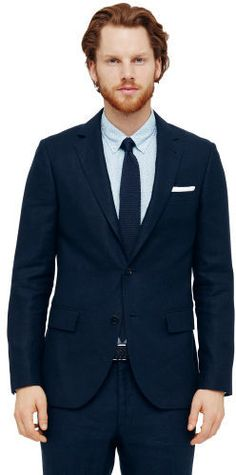 $279, Navy Linen Blazer: Club Monaco Grant Linen Suit Jacket. Sold by Club Monaco. Click for more info: http://lookastic.com/men/shop_items/223883/redirect
