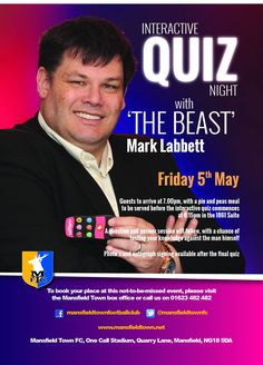 Can you beat the Beast. Come and join in with our interactive quiz and a Q&A with one of TV's biggest Quiz masters Mark Labbett.