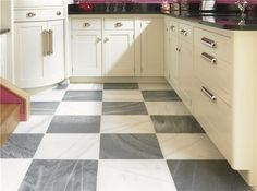 I have a grey similar to this, should I checker board mine with white too? The rest of the components in my kitchen are different but the floor is beautiful. Spanish Macael Grey and White marble eclectic floor tiles