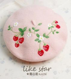 Sweet pink strawberry beret hat for girls winter wool hat Kawaii Fashion, Lolita Fashion, Cute Fashion, Pink Aesthetic, Aesthetic Clothes, Pretty Outfits, Cute Outfits, Mode Lolita, Cute Hats