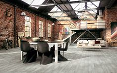 Industrial dining room in a warehouse apartment Key Traits of Industrial Interior Design