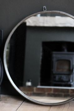 Large Circular Mirror With Metal Surround