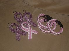 Paracord Bracelets and Support Ribbon Key Chains for Breast Cancer Awareness