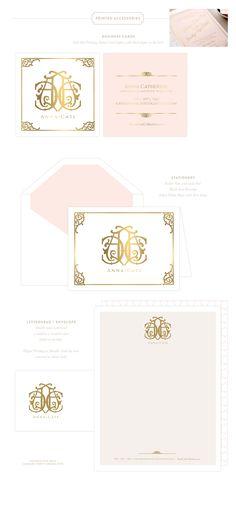 Branding Design for Anna Cate  |  www.EmilyMcCarthy.com | Luxury Branding, Logo, Monogram, Letterpress + Foil Printing