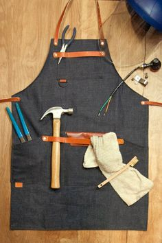 Shop Apron with Cross Back Strap - Denim, Raw Denim, Denim, Leather Waxed Canvas, Canvas Leather, Tool Apron, Apron Diy, Work Aprons, Woodworking Apron, Aprons For Men, Apron Pockets, Raw Denim