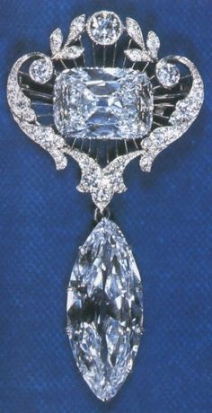 The Cullinan VI (lower, 8.80 carats) and Cullinan VIII Diamonds (upper, 6.80 carats) mounted in a pendant and owned by Queen Elizabeth II by kathy