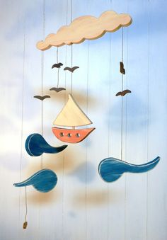 Baby mobile, wooden baby mobile, baby room, decoration, sailer, boat, sea, blue, n407