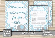 Baby Predictions - Baby Predictions Card with Elephant Blue Theme - Printable Baby Predictions Blue Gray Sign - Instant Download - eb11 by DigitalitemsShop on Etsy