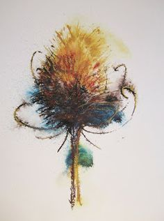 """""""Teasel II"""" by Lynn Norton © Acrylic ink with some soft pastel on top. Done on Bockingford watercolour paper"""