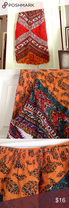 "Beautiful bohemian style maxi skirt Beautiful bohemian style maxi skirt. Spandex waistband, fits true to size around waist, ideal for 5'3""-5'5"""" in height, I'm 5'6"" and it's a tad short on me. Moderate wear. Angie Skirts Maxi"