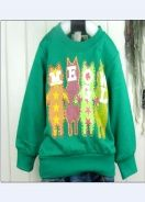 New Four Cats Design Kid's Cotton Topper Green
