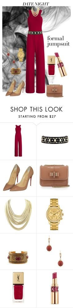 """""""Date Night: Formal Jumpsuit"""" by lacehearts58 on Polyvore featuring Halston Heritage, Tory Burch, Christian Louboutin, Kendra Scott, Lacoste, Chanel, Yves Saint Laurent and DateNight"""