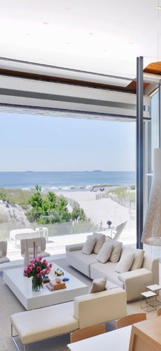 Houzz. Open view to the ocean from this beautiful living room.