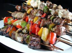 """Grilled Steak and Chicken Kabobs from Food.com:   This is modified from """"Saving Dinner"""" by Leanne Ely, one of our family faves.  Of course, all chicken or all beef is yummy, too, and sometimes I use whatever peppers I have on hand."""