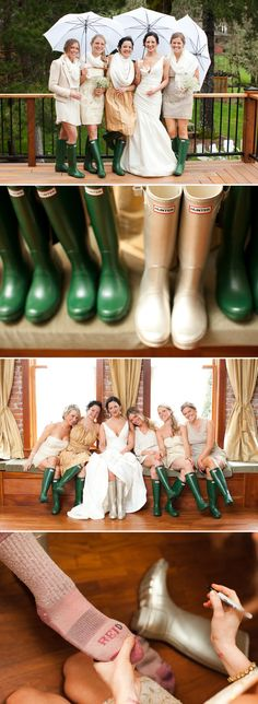 Bonus to a rainy Fall wedding? Bridal party Wellingtons!