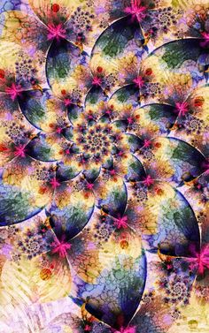 fractal artwork is created using mathematical formulas and fractal-generating software. Shapes and colors are repeated infinitely within an image, and when the hand of the artist comes into play variances are introduced breathing life and vibrancy into the work.