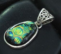 Abstract Fused Dichroic Glass Medallion set in by JuJuBeezJewelry
