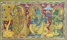 Rama gives Hanuman His Ring to Take to Lanka for Sita - Folk Art Paintings (Kalamkari Paintings on Cotton - Unframed) Ancient Indian Art, Indian Folk Art, Kalamkari Painting, Silk Painting, Traditional Paintings, Traditional Art, Indian Paintings, Art Paintings, King Ravana