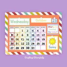 Free DIY Children's Calendar printables available in English, Spanish and French! This calendar is a great learning tool to use with children daily and a fun way to learn about the weather, days of the week and plan out your day! Create A Calendar, Calendar Time, Daily Calendar, Kids Calendar, Print Calendar, 2021 Calendar, Yearly Calendar Template, Free Printable Calendar Templates, Free Printables